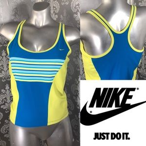NIKE Blue&Yellow Vintage Dri-Fit Athletic Tank Top